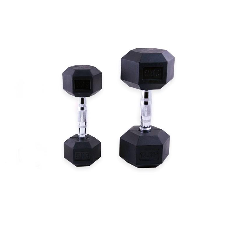 Mancuernas de Goma Hexagonales Mets Fitness PF-9050-09 9kg Par