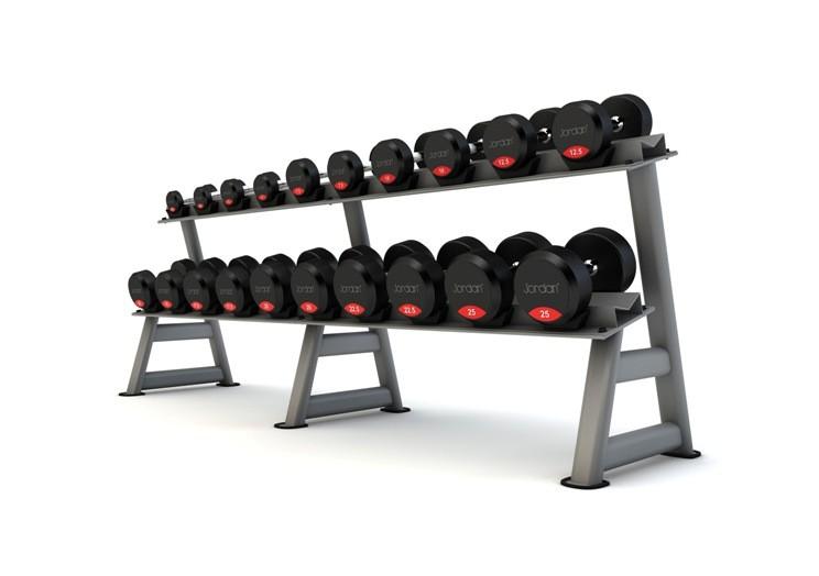 Soporte de Mancuernass Jordan Fitness JTDR-08-12N Curvado 12 pares 2 Niveles