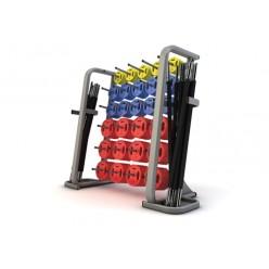 Set de 30 Discos + Rack Jordan Fitness JTSBS-P4 Clásico de Goma
